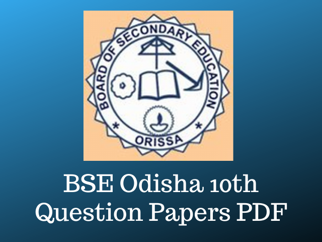 BSE Odisha 10th Question Paper