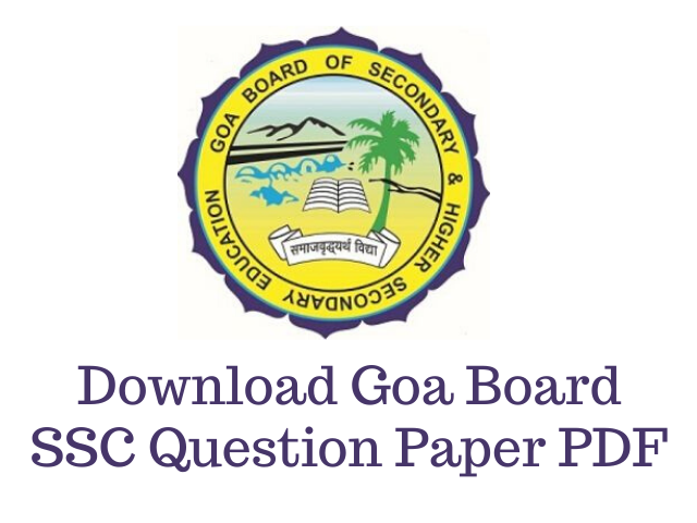 Goa Board SSC Question Paper