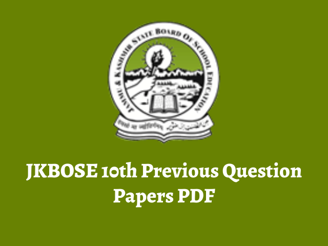JKBOSE 10th Previous Question Papers